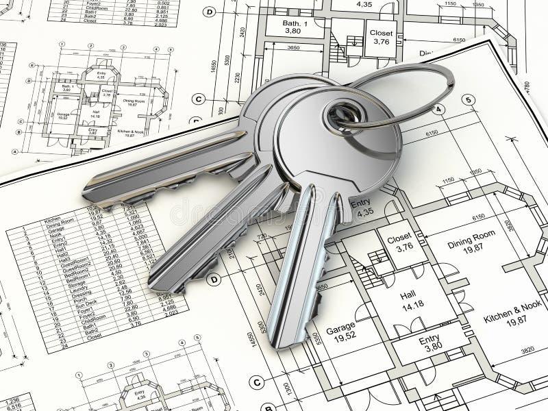 Schlüssel auf Hausplanplan. 3d lizenzfreie abbildung