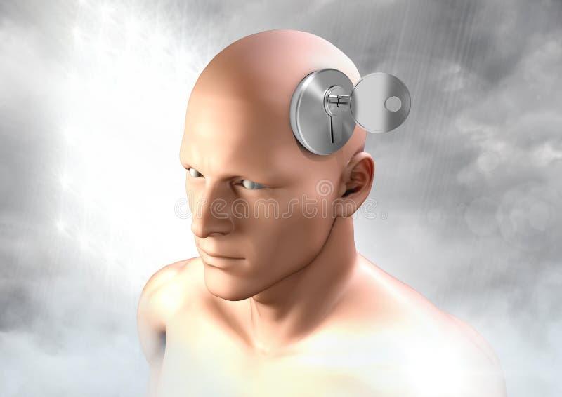 Schlüssel, die surreale Fantasie von 3D freisetzend, bemannt Kopf lizenzfreies stockfoto