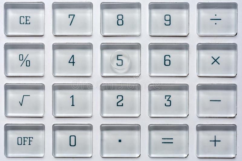 Schlüssel eines Taschenrechners auf Mathe und Statistiken stockbild