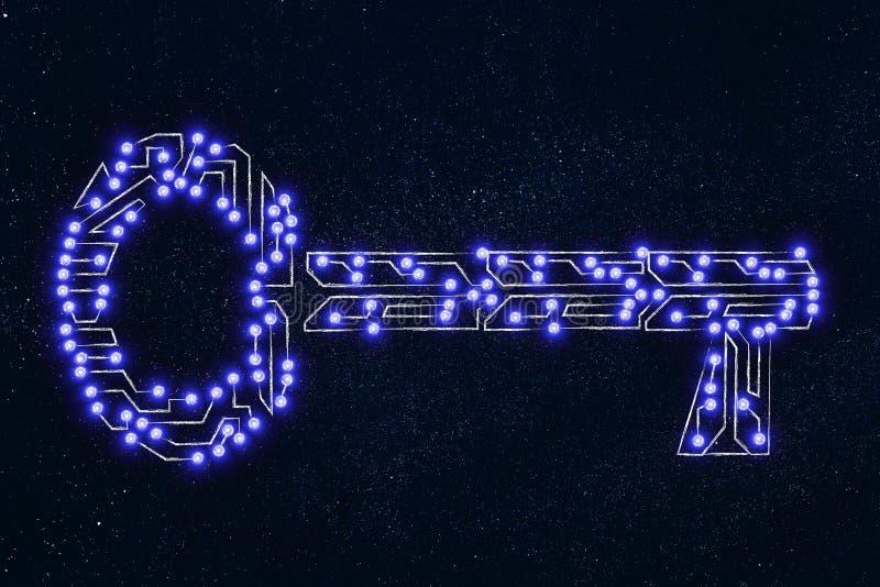 Schlüssel gemacht vom elektronischem Mikrochipstromkreis, -schlüsselwörtern oder -passwort stock abbildung