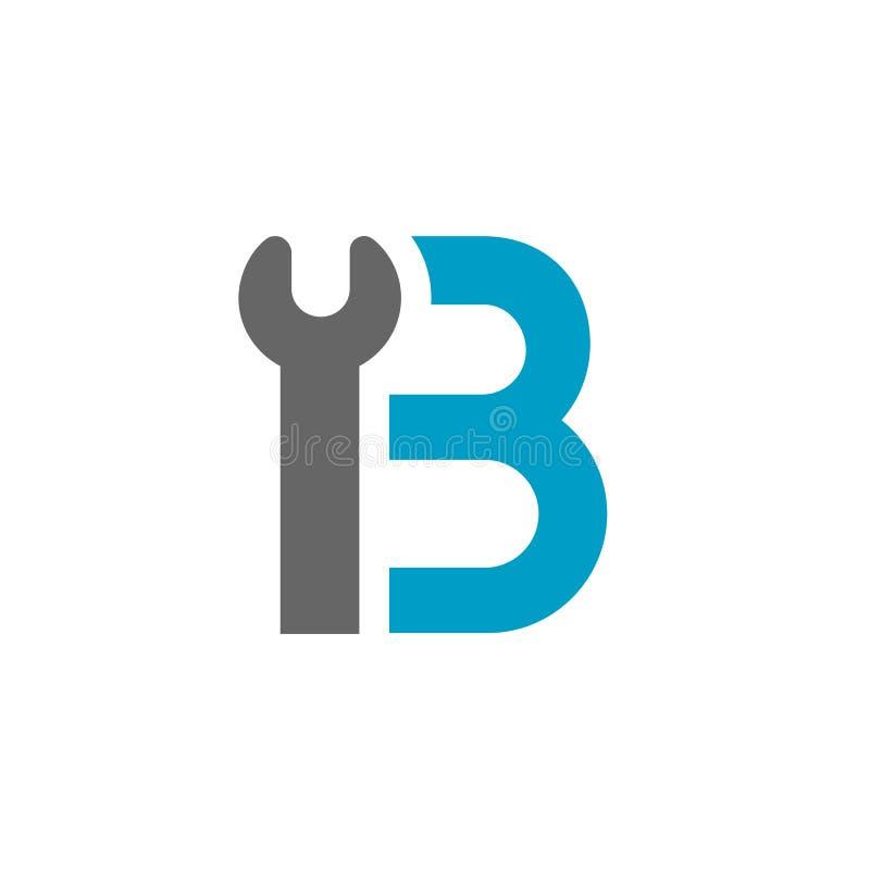 Schlüssel Logo Icon des Buchstabe-B Klempner, Schlosser oder Mechaniker Concept Blau und Grey Color Vector Illustration vektor abbildung