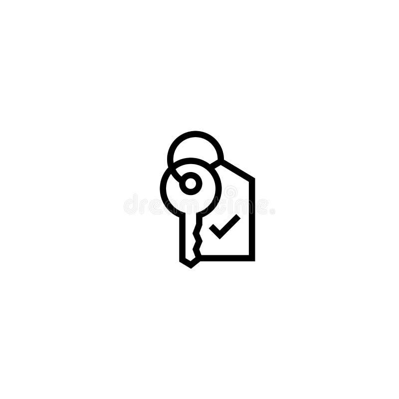 Schlüssel mit Tagikone Immobilien, Hotel, Hauseigentümersymbol einfaches sauberes dünnes Entwurfsartdesign lizenzfreie abbildung