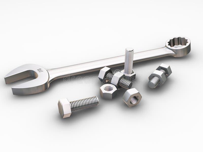 Schlüssel, Muttern - und - Schrauben stock abbildung