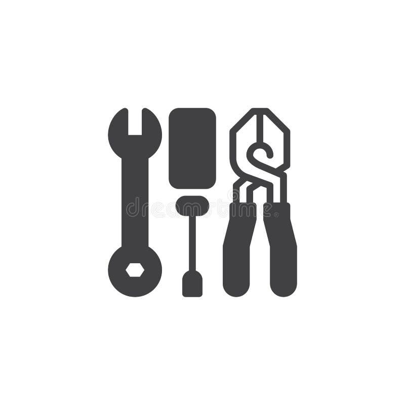 Schlüssel-Schraubenzieher- und Zangenvektorikone lizenzfreie abbildung