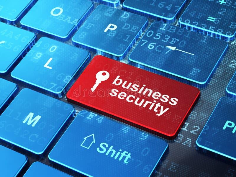 Schlüssel-und Geschäfts-Sicherheit auf Computertastatur lizenzfreie abbildung