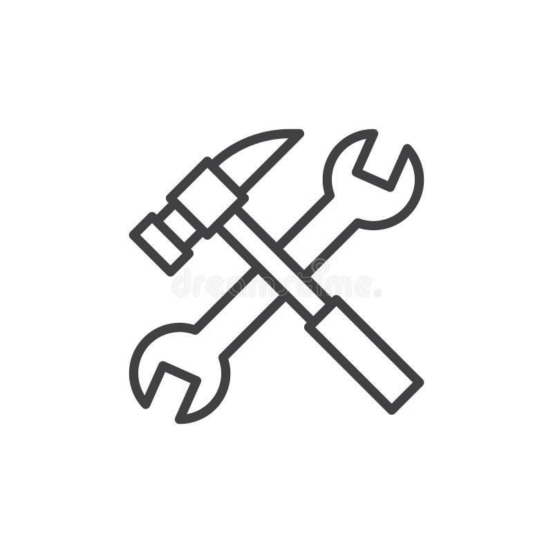 Schlüssel und Hammer zeichnen Ikone, Entwurfsvektorzeichen, das lineare Artpiktogramm, das auf Weiß lokalisiert wird vektor abbildung