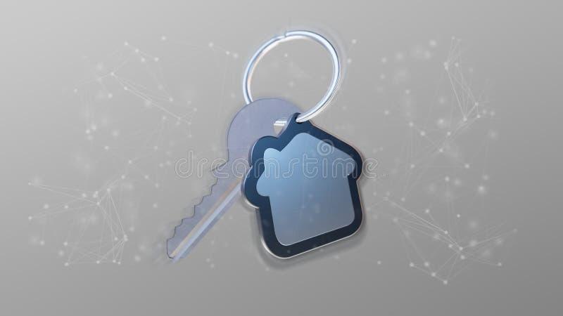 Schlüssel und Haus auf einer Wiedergabe des Hintergrundes 3d vektor abbildung
