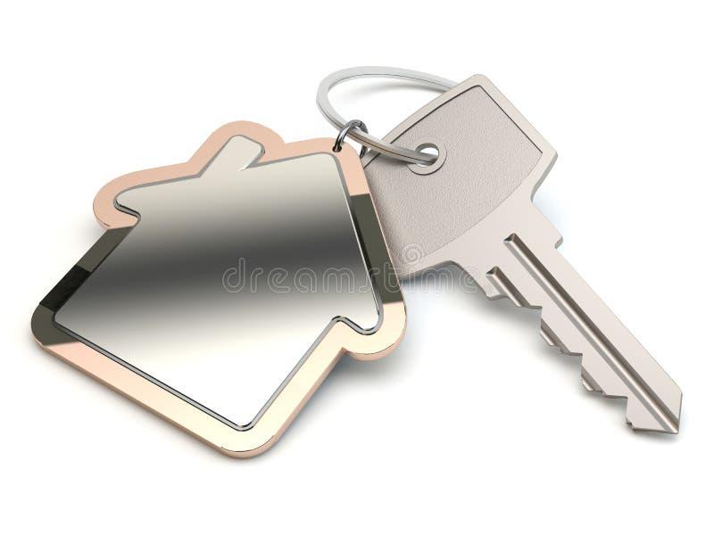 Schlüssel und Haus, Illustration 3D stock abbildung