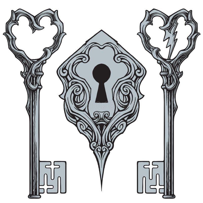 Schlüssel und Schlüssellochvektor stock abbildung