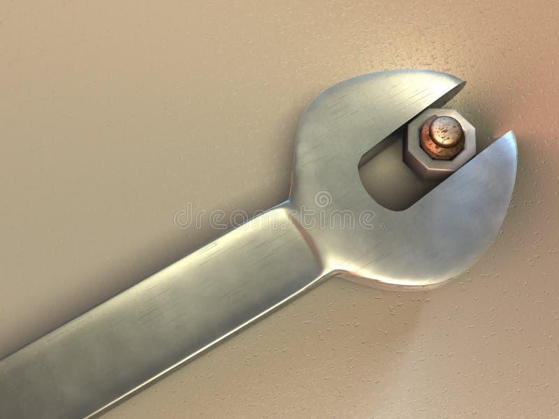 Schlüssel und Schraube stock abbildung
