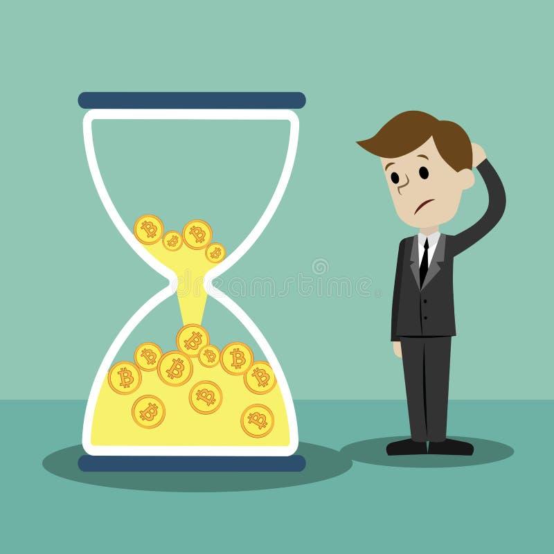 Schlüssel-Währungsmarkt Geschäftsmann ist, sehend stehend und sandglass mit Bitcoins und das Lösen sein stockfotografie