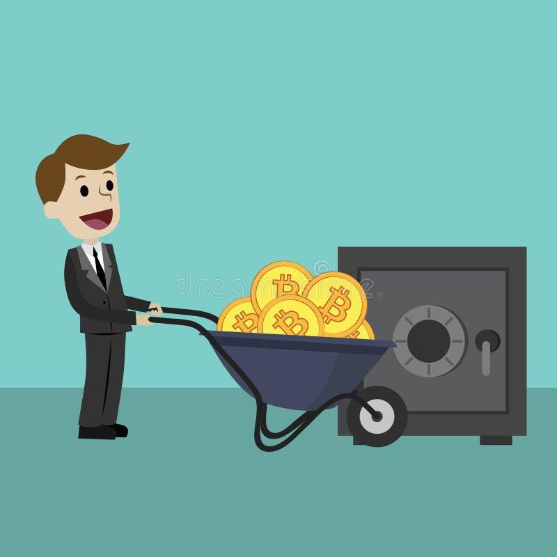 Schlüssel-Währungsmarkt Geschäftsmann oder Manager holt Bitcoin unter Verwendung des Radkarrens Bankwesen und Investition stockfoto