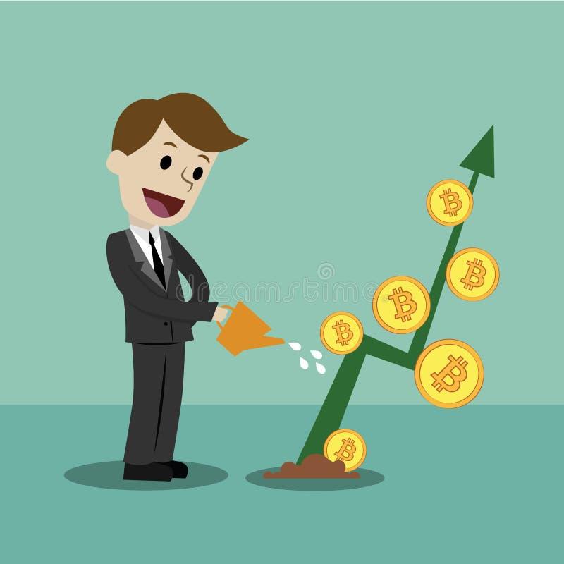 Schlüssel-Währungsmarkt Geschäftsmann, welche nach Wachstumstabelle von Bitcoins sucht lizenzfreies stockfoto