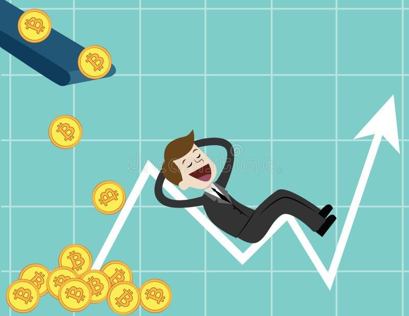 Schlüssel-Währungsmarkt Geschäftsmann, welche nach Wachstumstabelle von Bitcoins sucht Diagramm erhalten viel bitcoin stock abbildung