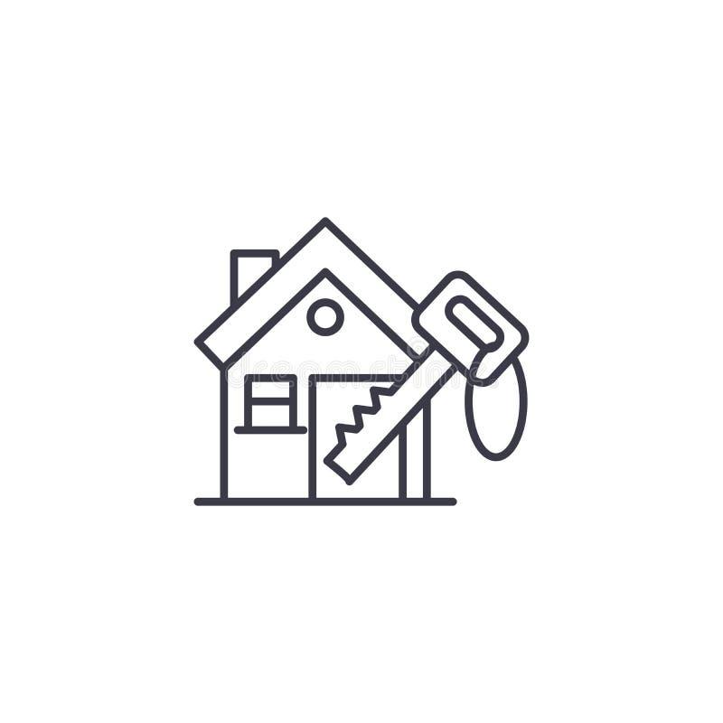 Schlüssel zum linearen Ikonenkonzept des Hauses Schlüssel zur Hauslinie Vektor unterzeichnen, Symbol, Illustration lizenzfreie abbildung