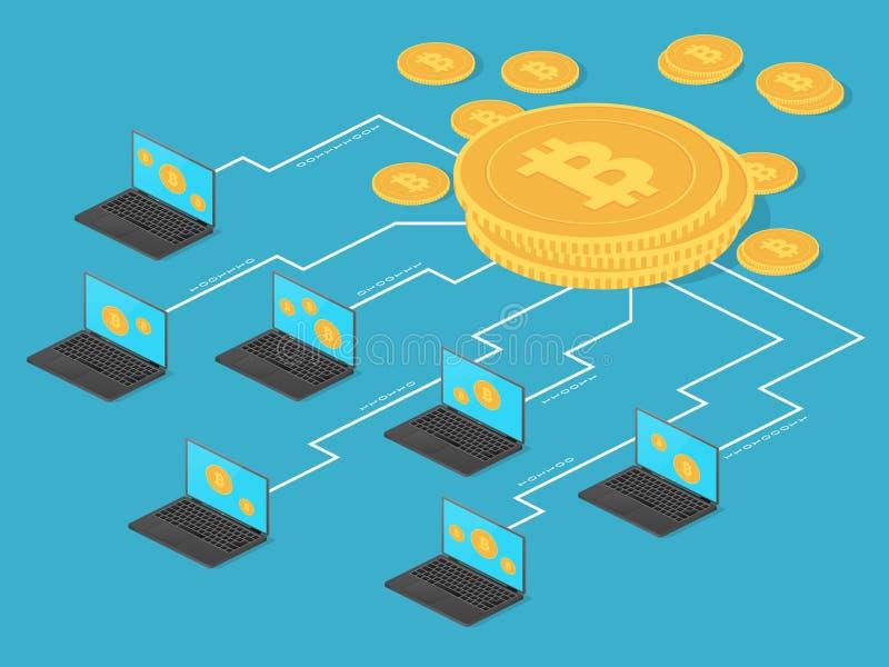 Schlüsselgeld- und Netzbankwesen Bitcoin-Bergbau-Vektorkonzept lizenzfreie abbildung