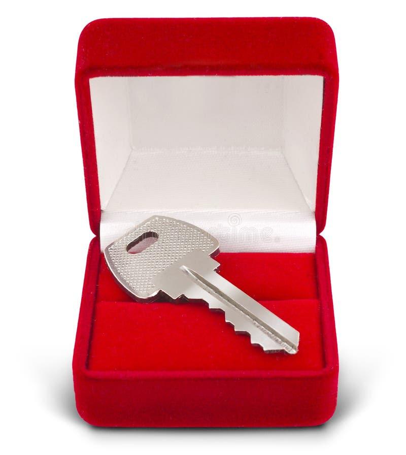 Schlüsselgeschenkkasten auf Weiß lizenzfreie stockfotos