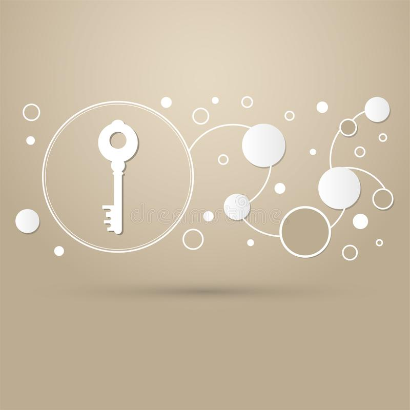 Schlüsselikone auf einem braunen Hintergrund mit eleganter Art und modernen dem Design infographic stock abbildung