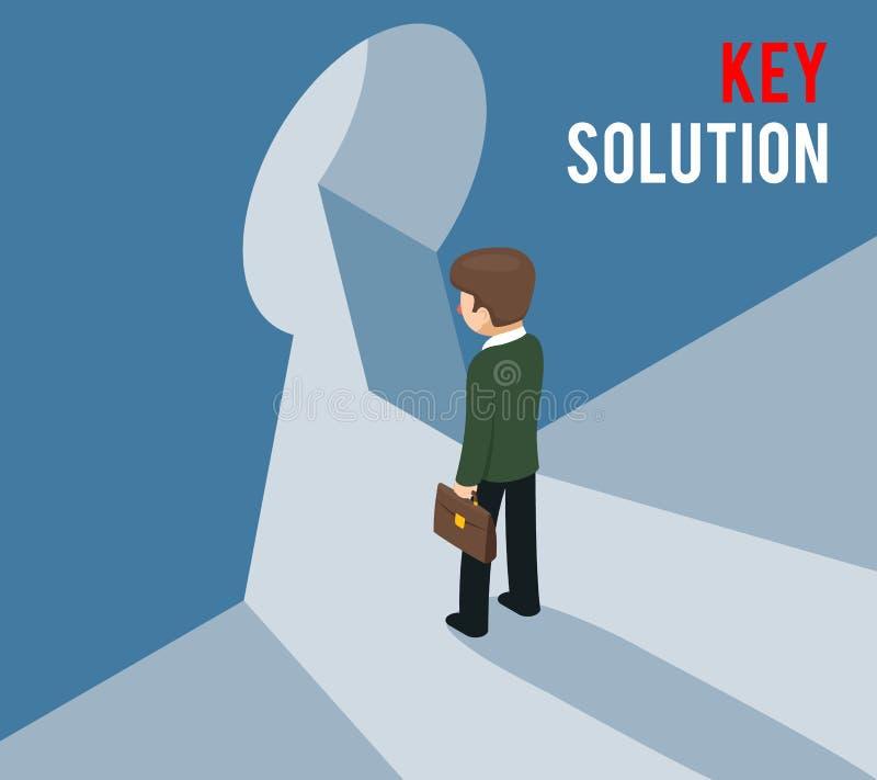 Schlüssellösungskonzept Hereinkommendes Schlüsselloch des Geschäftsmannes stock abbildung