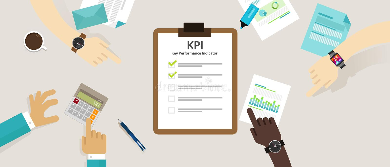 Schlüsselleistungsindikatorgeschäftskonzept-Bewertungsstrategie-Planmaßnahme Stunde Kpi lizenzfreie abbildung