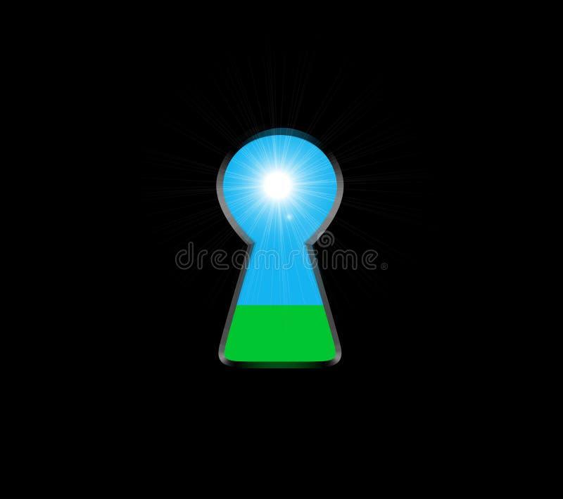 Schlüsselloch mit hellem Innere Ökologisches Konzept, natürliches grünes Gras und Himmel Vektor lizenzfreie abbildung