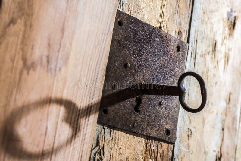 Schlüsselloch mit Schlüssel lizenzfreie stockfotos