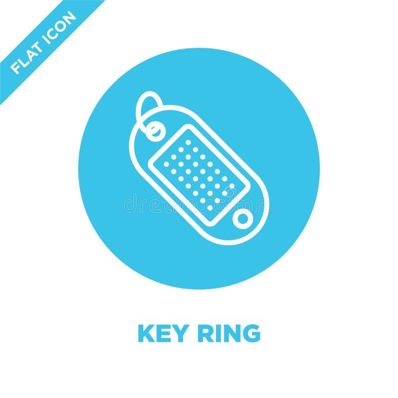 Schlüsselring-Ikonenvektor von der Briefpapiersammlung Dünne Linie Schlüsselring-Entwurfsikonen-Vektorillustration Lineares Symbo lizenzfreie abbildung