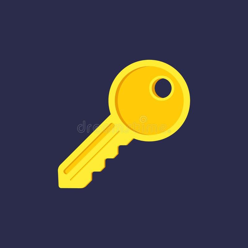Schlüsselvektorikone, Haussicherheitsausgangsverschlusskonzept Flaches Entwurfszeichen für Netz, Website, mobiler App Goldene gel vektor abbildung