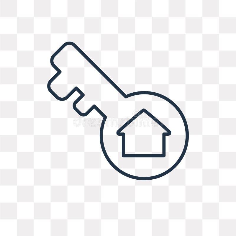 Schlüsselvektorikone lokalisiert auf transparentem Hintergrund, linearer Schlüssel t stock abbildung
