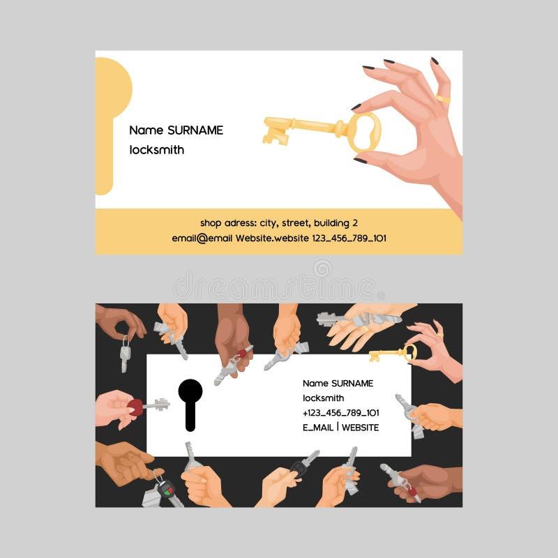 Schlüsselvektorvisitenkartehandholding-Hausschlüssel schließen für verschlossenen sicheren Hintergrund des Schutzes der Sicherhei lizenzfreie abbildung