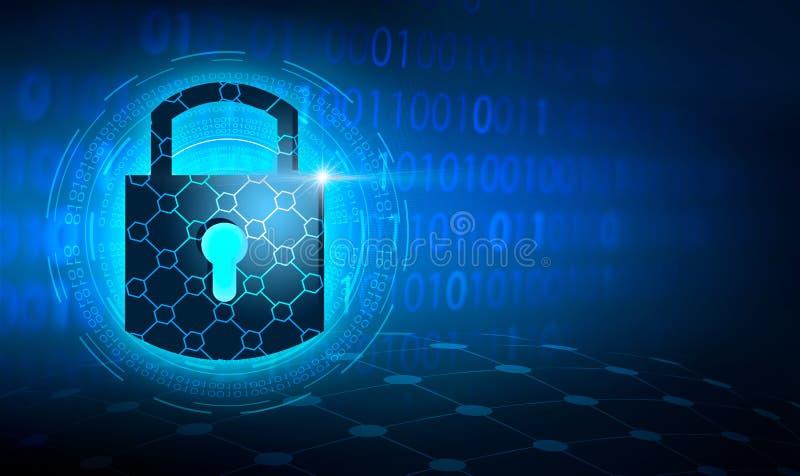 Schlüsselverschlusssicherheitssystemzusammenfassungstechnologieweltdigitale Verbindungsinternetsicherheit auf High-Techem dunkelb vektor abbildung