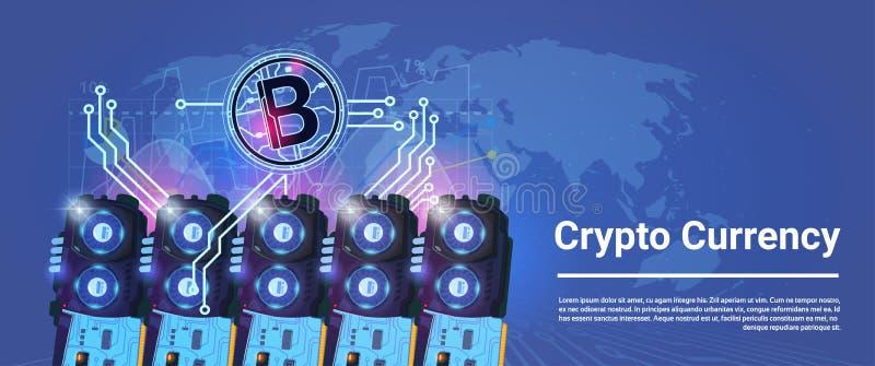 Schlüsselwährung Bitcoin-Bergbau, der horizontales Fahnen-Weltkarte-Hintergrund-Digital-Netz-Geld-Konzept bewirtschaftet vektor abbildung