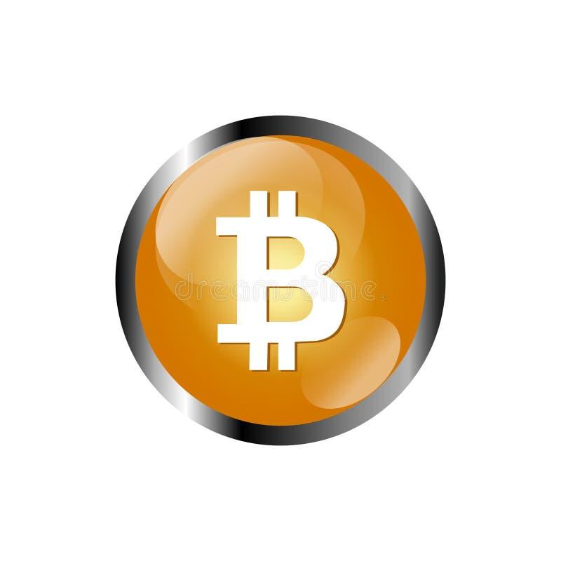 Schlüsselwährung Bitcoin blockchain flaches Logo ein farbiger dreieckiger Hintergrund stock abbildung