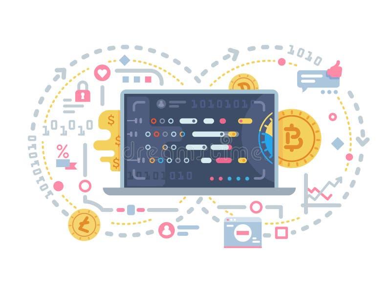 Schlüsselwährungs- und Blockkette lizenzfreie abbildung