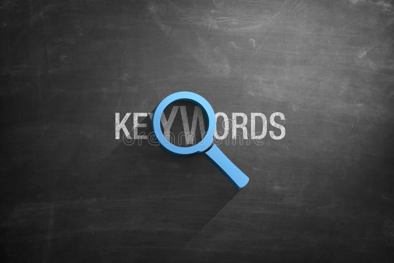 Schlüsselwörter simsen und Illustration der Lupe 3d vektor abbildung