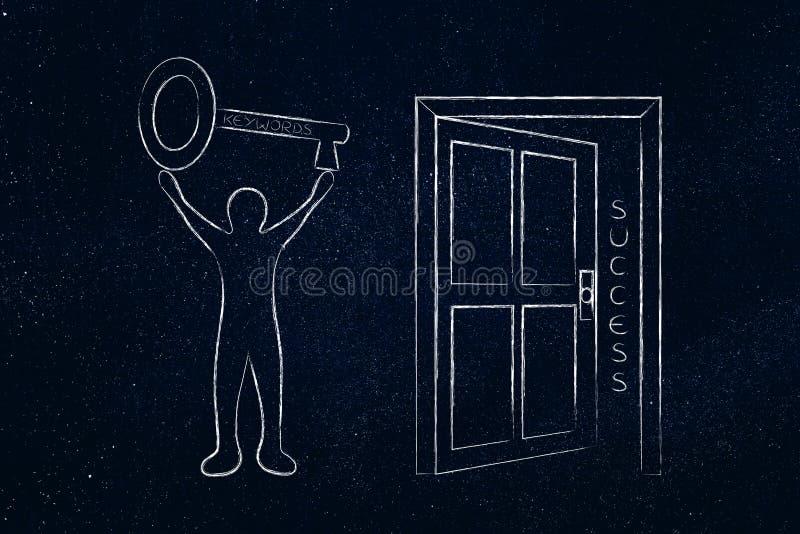 Schlüsselwörter, welche die Tür zum Erfolg, Mann hält enormen Schlüssel öffnen stockfotografie