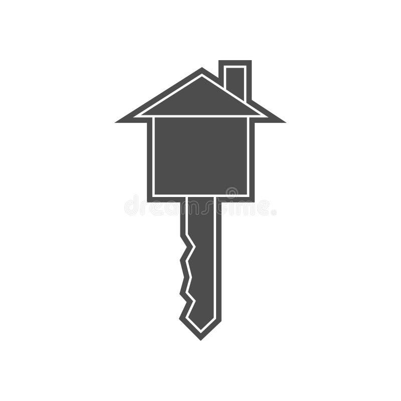 Schl?ssel in der Hausikone Element von minimalistic f?r bewegliches Konzept und Netz Appsikone Glyph, flache Ikone f?r Websiteent lizenzfreie abbildung