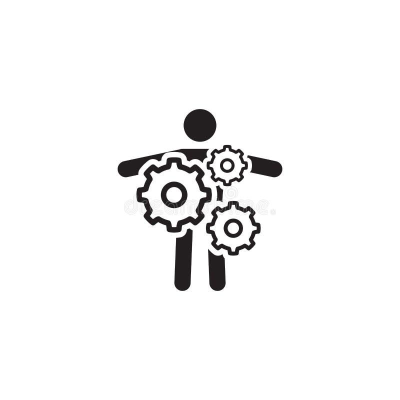 Schl?ssel-Person Icon Die goldene Taste oder Erreichen f?r den Himmel zum Eigenheimbesitze Flaches Design vektor abbildung