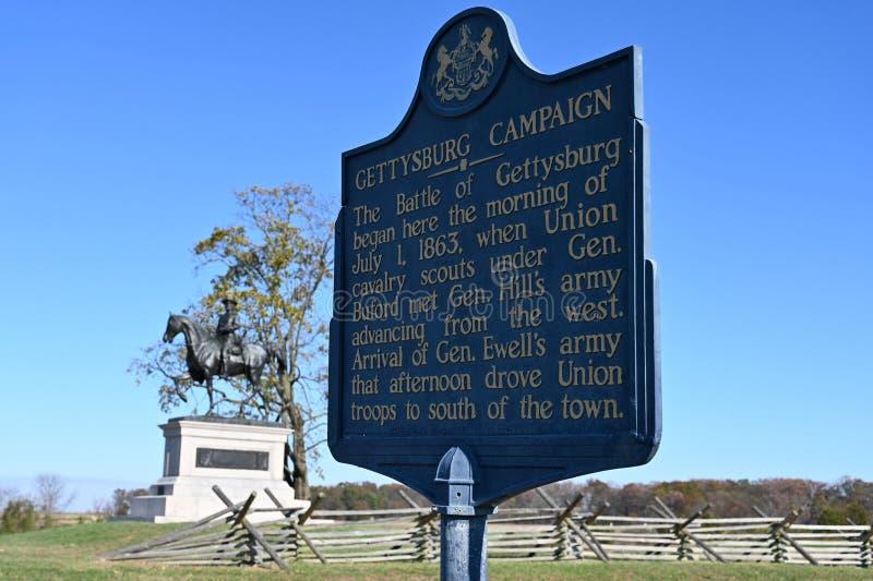 Schlacht von Gettysburg Marker lizenzfreie stockfotos