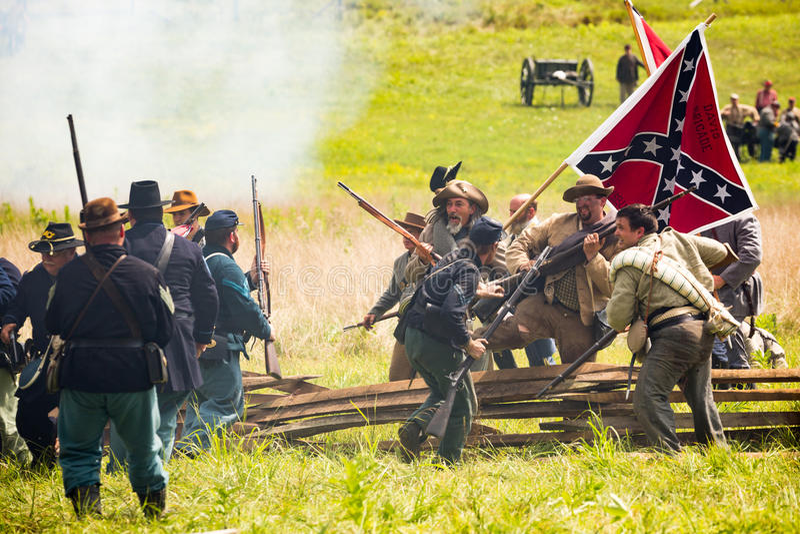 Schlacht von Gettysburg-Wiederinkraftsetzung lizenzfreie stockfotografie