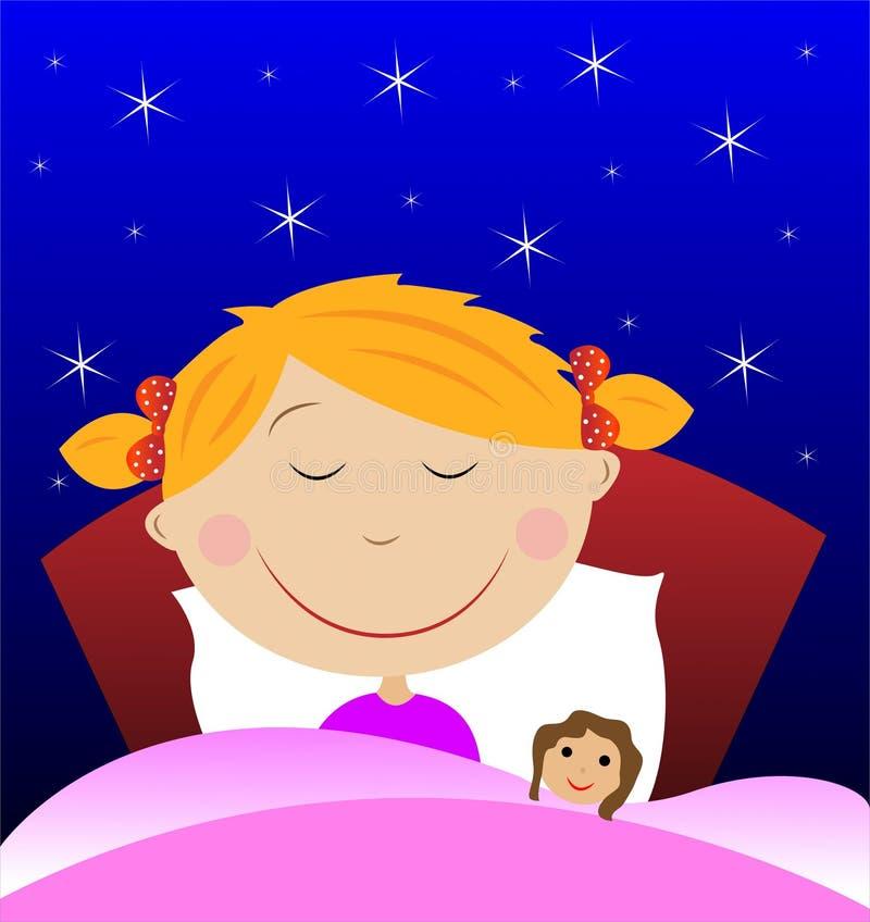 Schlaf des kleinen Mädchens unter Decke mit Puppe lizenzfreie abbildung