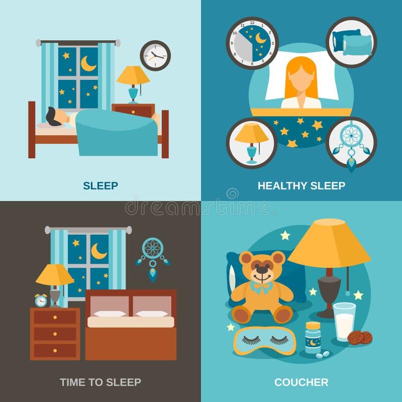 Schlaf-Zeit flach stock abbildung