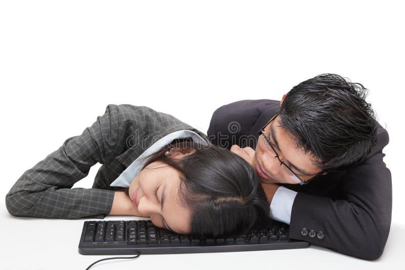 Schlafende Büroangestellte stockbild