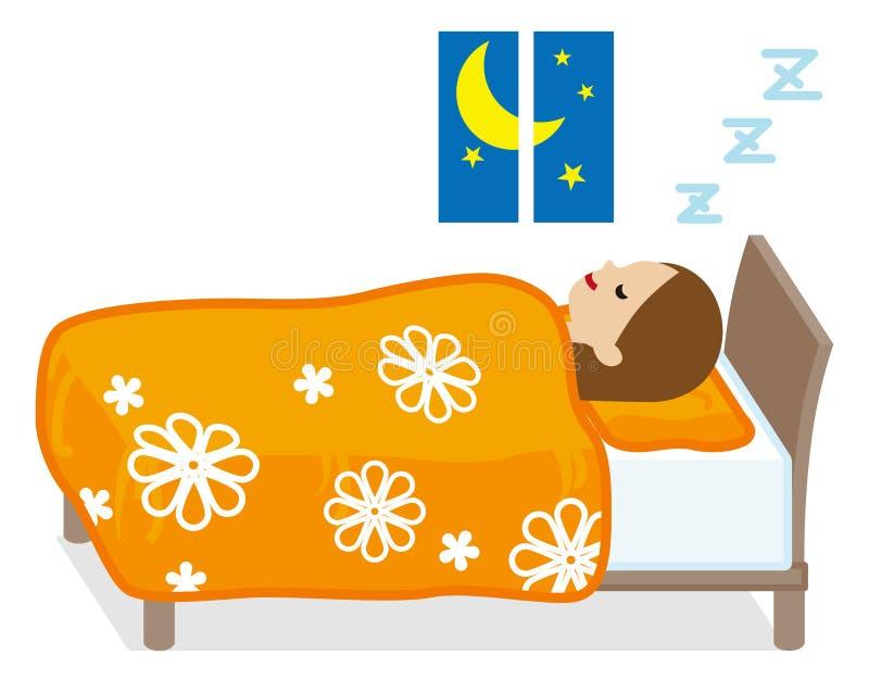 Schlafende Frau - Blumenmuster Bettzeug vektor abbildung