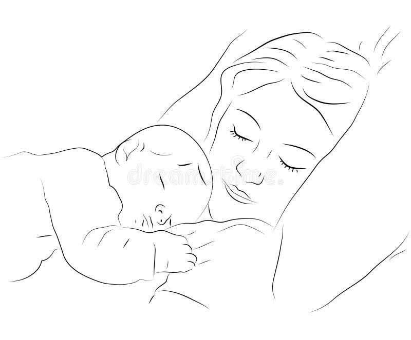Schlafende Mutter- und Schätzchenikone stock abbildung