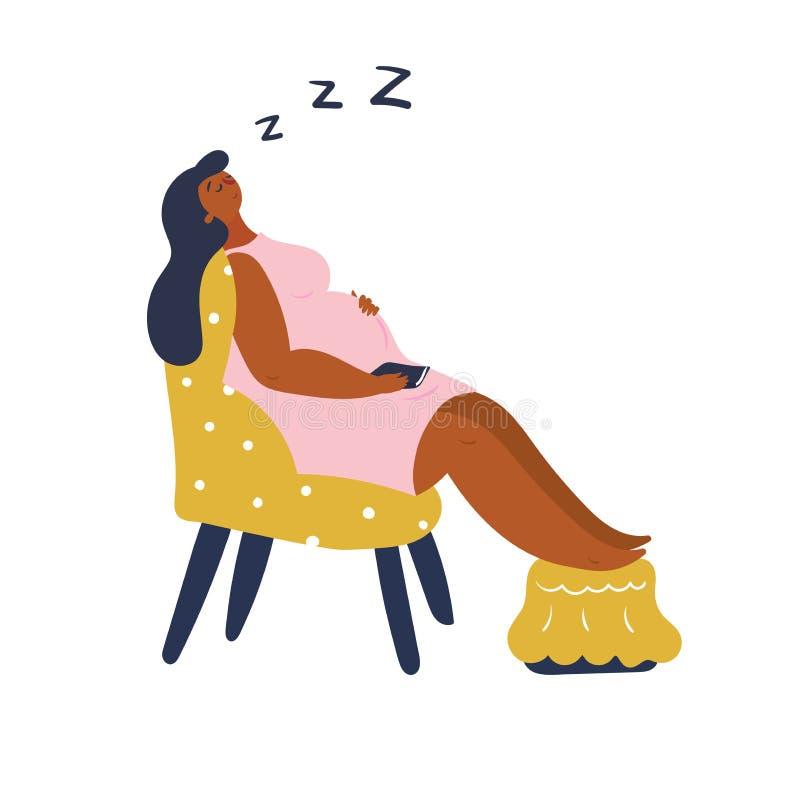 Schlafende schwangere Frau steht auf dem gelben Stuhl still lizenzfreie abbildung