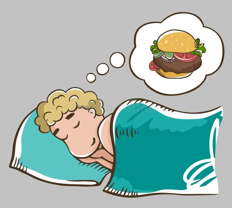 Schlafender blonder Mann auf einem Kissen träumend über Burger Getrennt auf grauem Hintergrund Burger-Traum Mann auf einer Di?t vektor abbildung