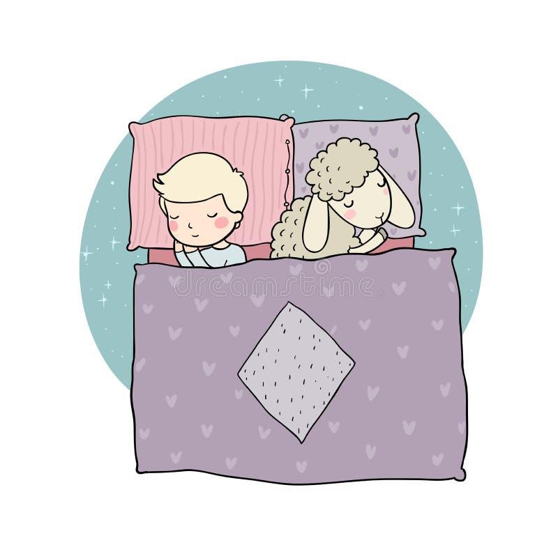 Schlafender Junge und nette Karikaturschafe Gute Nacht Schlafzeit Druck für Pyjamas lizenzfreie abbildung
