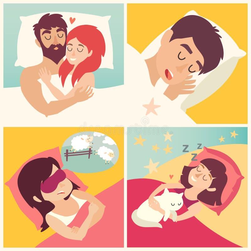 Schlafender Mann Karikaturjunge am Bett Zeichentrickfilm-Figur-Männer auf Kissen Süße Träume vektor abbildung