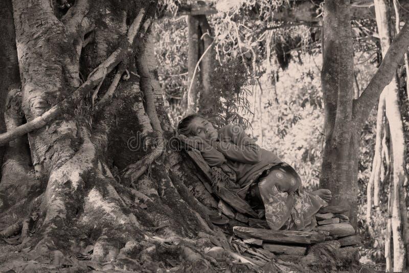 Schlafender Nepali lizenzfreie stockfotos